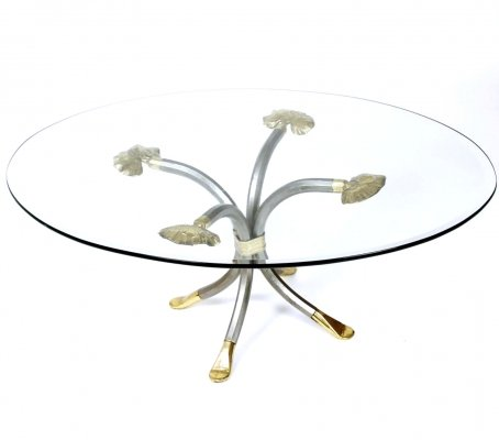 Steel & brass coffee table by Manfred Bredohl, Germany 1970s