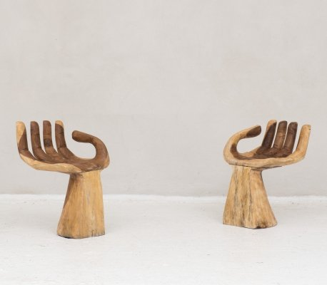 Rare set of Buddha hands which can be used as a chair, side table or plant stand