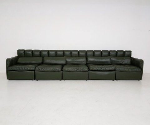 Vintage dark green leather sectional sofa