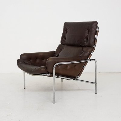 Brown leather Sz09 'Nagoya' lounge chair by Martin Visser for 't Spectrum