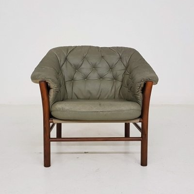 Vintage green leather lounge chair by Göte Möbel, Sweden 1970's