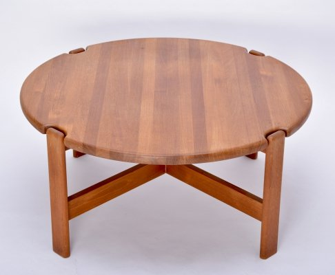 Circular Scandinavian Coffee Table in solid Teak by Niels Bach, 1970s