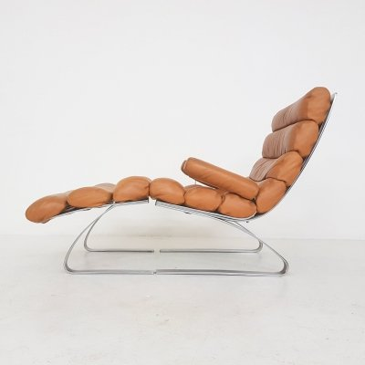 Early Sinus Cognac Leather Lounge Chair by Adolf & Schröpfer for COR