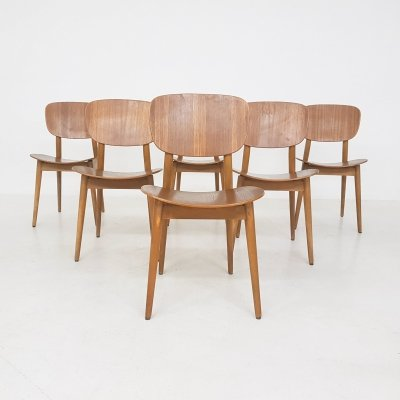Set of 6 plywood dining chairs, 1960s