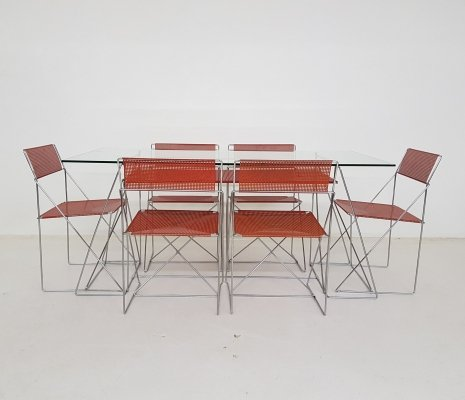 X Line Stacking Chairs & Dining Table by Niels Jørgen Haugesen for Hybodan, 1977