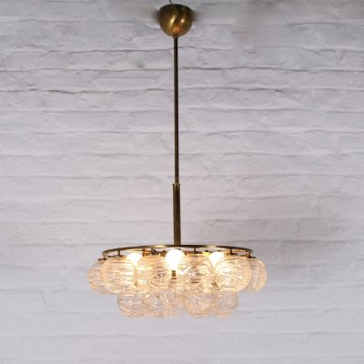 Doria brass & glass 'snowball' ceiling lamp