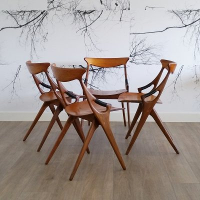 Set of 4 Teak 'Model 17' Dining Chairs by Arne Hovmand Olsen for Mogens Kold, 1950s