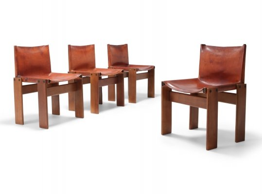 Set of 4 Scarpa 'Monk' Chairs in Patinated Cognac Leather, 1970s