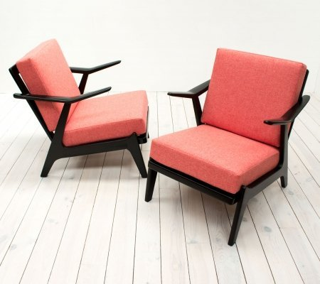 Mid Century Pair of Black & Coral Pink Armchairs
