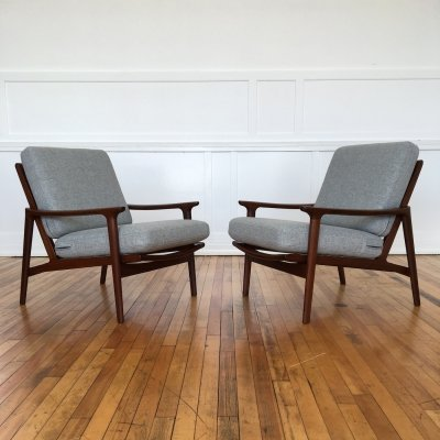 Pair of 1960's Mid Century British Guy Rogers New Yorker Low Back Armchairs