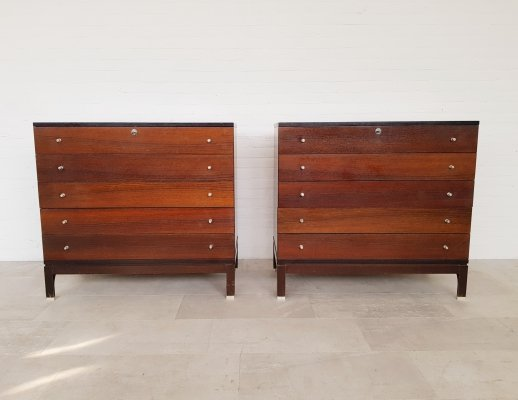 Set of 2 rosewood chest of drawers by M.I.M. Roma, 1960s