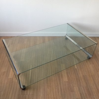 Chromed metal & glass two-tier coffee table by Pierangelo Gallotti