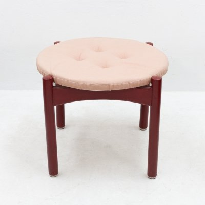 Red wooden footstool with fabric, 1960s