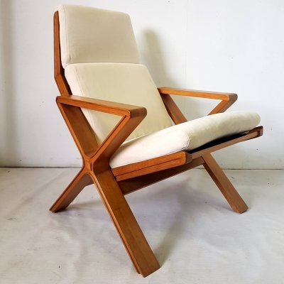 Rare mid century oak lounge chair, 1960s