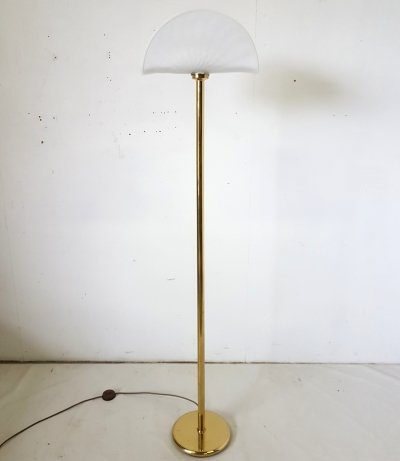 Hollywood regency brass floor lamp with murano hood, 1970s