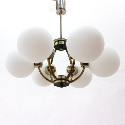 50s Six-Light Brass Chandelier with Frosted Glass Shaded