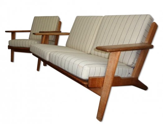 GE-290 series Two seater sofa & low easy chair by Hans Wegner, 1950s