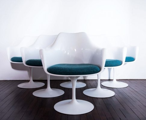 Set of 6 Tulip armchairs with swivel base by Eero Saarinen for Knoll International
