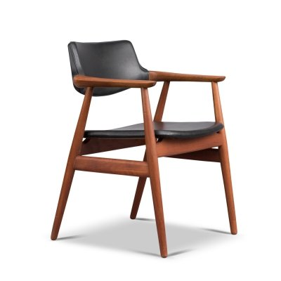 Danish Teak & Leather Chair by Erik Kirkegaard for Høng Stolefabrik, 1950s