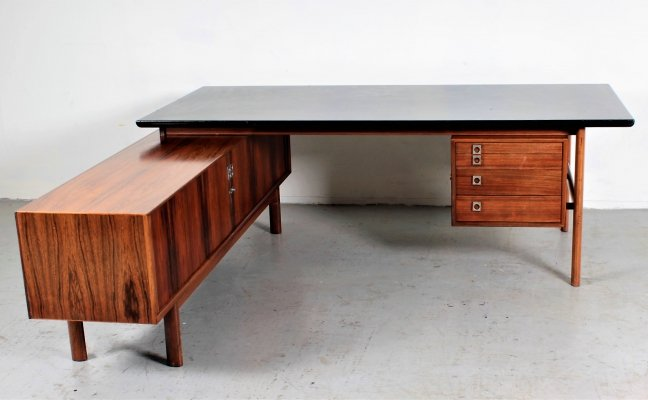 Black leather & palisander 'Model 75' desk with cabinet by Arne Vodder for Sibast