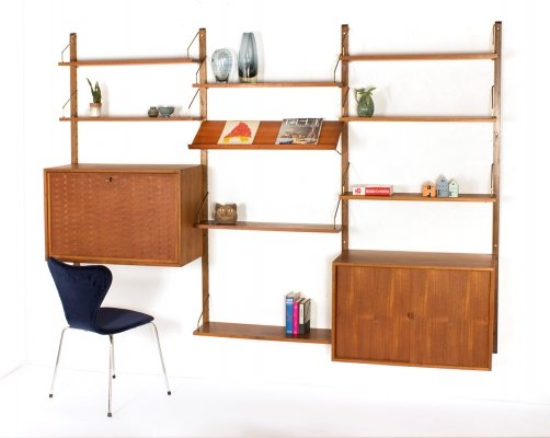 Vintage Danish Poul Cadovius wall unit with brass shelf holders