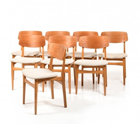 Set of 8 Danish Dining Chairs in Teak & Oak, 1950s