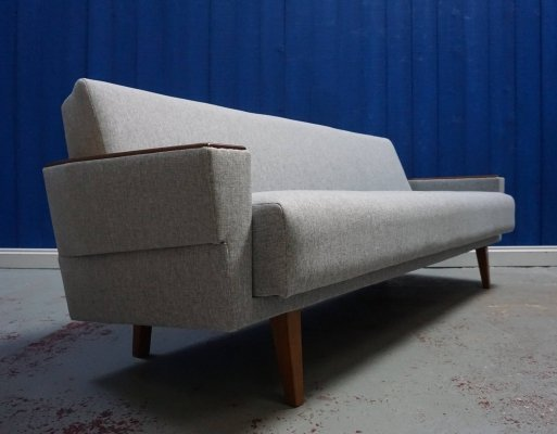 Mid Century 3 Seater Danish Sofa / Day Bed in Grey Tweed, 1960's