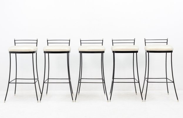 5 metal bar stools with fabric