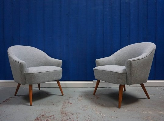 Pair of Mid Century Cocktail Chairs in Light Grey Tweed, 1950's