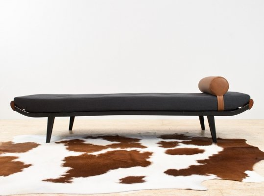Cleopatra daybed by Andre Cordemeyer in black & teak, 1960s