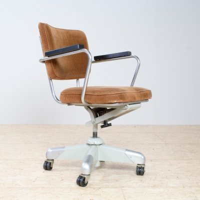 Industrial Ochre yellow Gispen desk / office chair by Christoffel Hoffmann, 1953