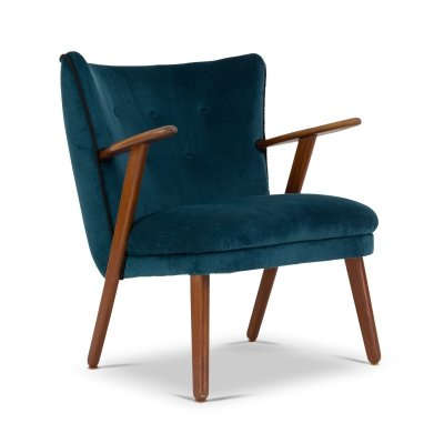 Danish cocktail chair in blue/green corduroy