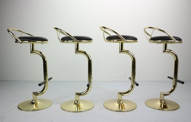 Set of 4 Brass & Black Faux Leather Hollywood Regency Bar Stools, 1970s