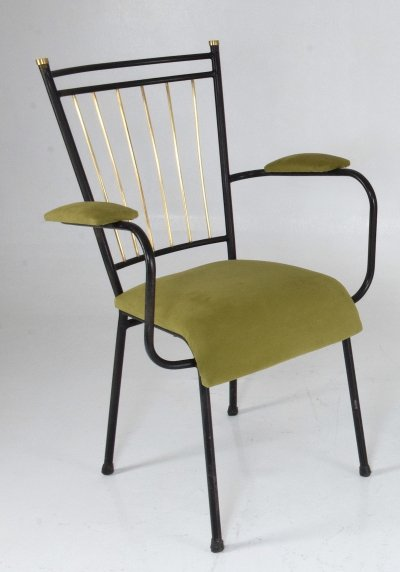 3 French Mid-Century Steel Armchairs, 1950's