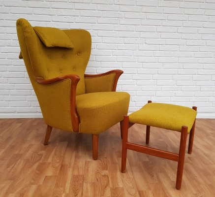 Danish Teak Lounge Chair & Ottoman Set, 1960s