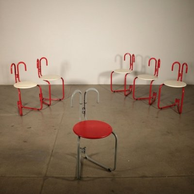 Set of 6 Binda Chairs by Luca Leonori for Pallucco, 1980s