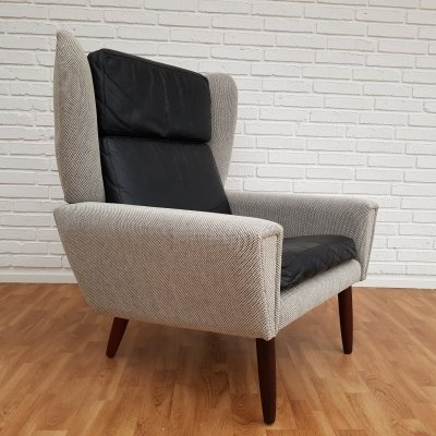 Mid-Century Danish Black & Grey Lounge Chair, 1970s