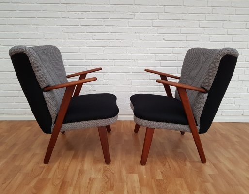 Pair of Danish Black & Grey Armchairs, 1960s