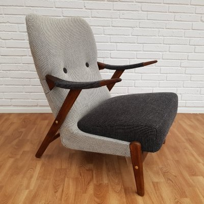 Scandinavian Black & Grey Lounge Chair, 1960s