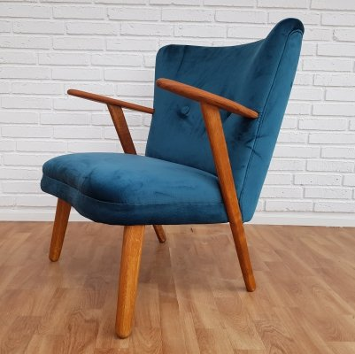 Danish Turquoise Lounge Chair, 1960s