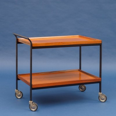 Minimalist midcentury serving trolley in walnut & metal, 1960s