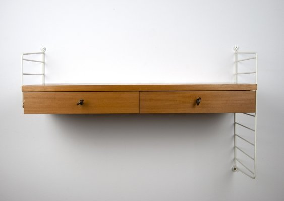 Nisse Strinning Wall Shelf with Drawers for String, 1960s