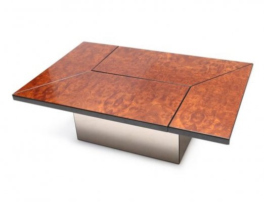 1970s burl elm & mirrored glass coffee table with hidden bar by Paul Michel