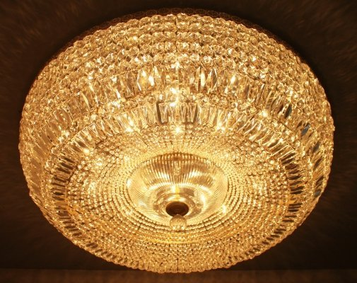 Huge Crystal Glass Flush Mount Chandelier, 1960s