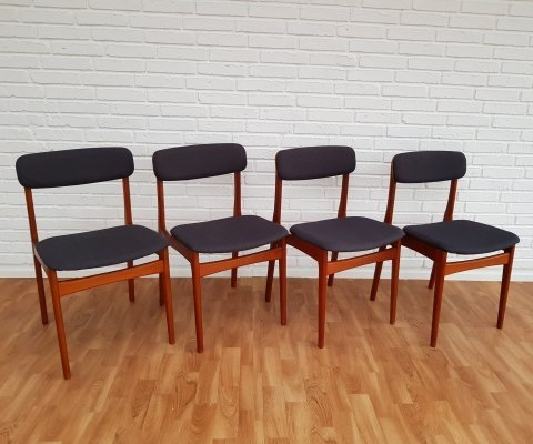 Set of 4 Danish design dining chairs with teak frame