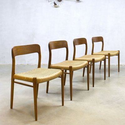 Vintage Danish 'Model 75' dining chairs by Niels O. Møller