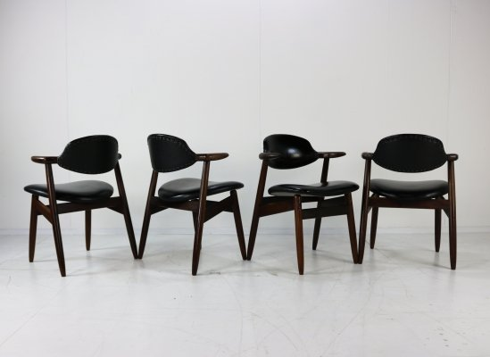 Set of four Propos series cowhorn dinner chairs by Tijsseling for Hulmefa