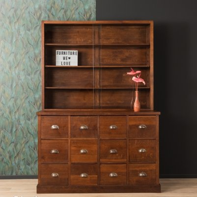Two-part solid oak wood apothecary cabinet, 1920s