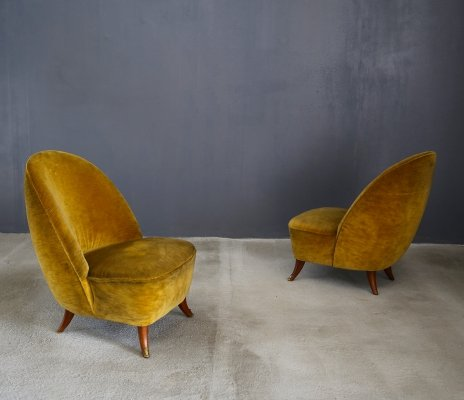 Pair of Guglielmo Ulrich armchairs from 1950 with original fabric