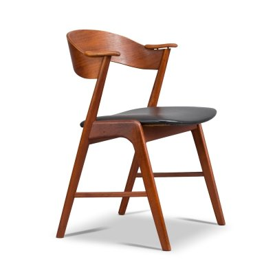 Danish Teak & Leather Chair with Plywood Back by Kai Kristiansen for Korup, 1950